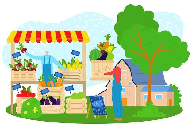 Marché du magasin, illustration vectorielle, personnage plat achète des aliments frais dans le magasin de la ferme, produit local biologique du stand de l'agriculteur, homme en salopette