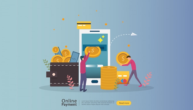 Marché e-commerce shopping illustration en ligne avec caractère de minuscules personnes.