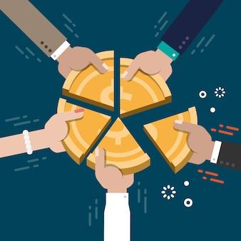 Marché entreprise part concurrence concept illustration vecteur