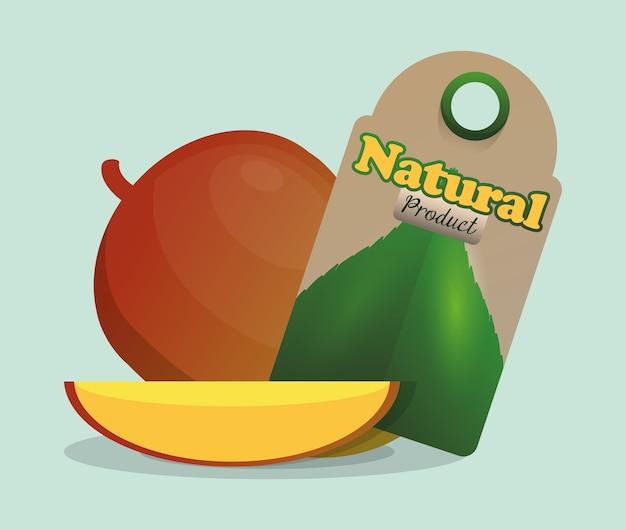 Marché des étiquettes de produits naturels à la mangue