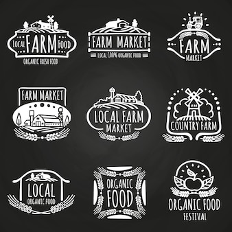 Marché de la ferme et festival de nourriture dessinés à la main
