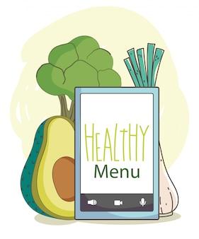Marché frais smartphone menu légumes bio aliments sains illustration