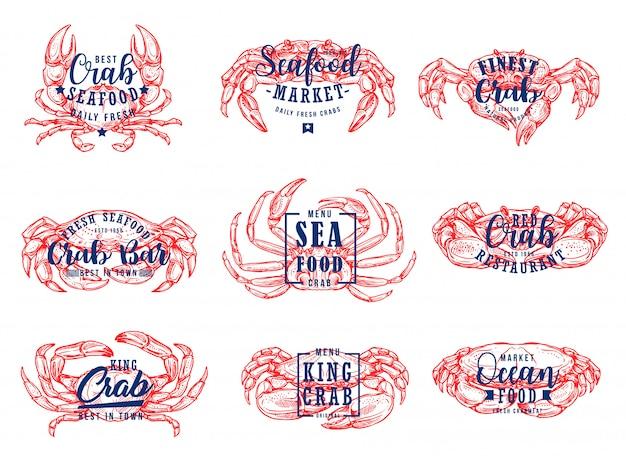 Marché de fruits de mer, icônes de lettrage de restaurant de homard