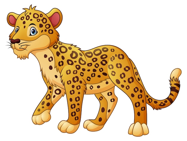 Marche de léopard de dessin animé