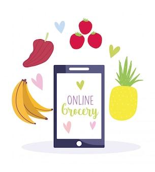 Marché en ligne, achat de produits alimentaires d'épicerie dans une application mobile