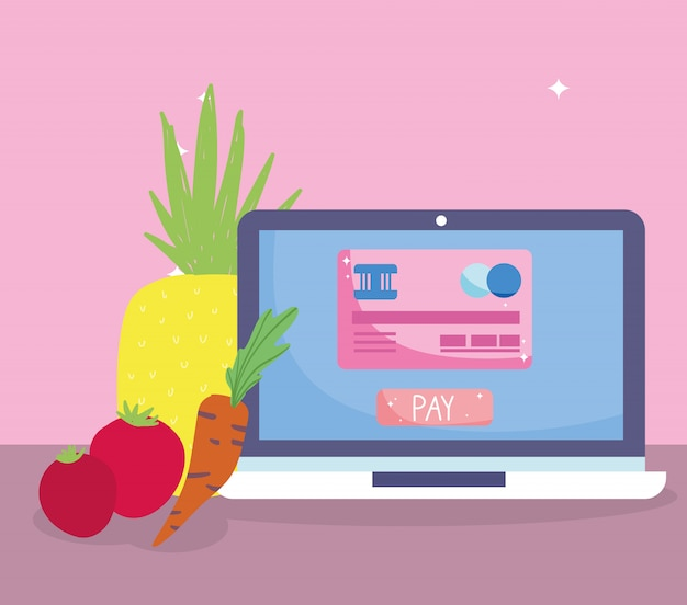 Marché en ligne, bouton de paiement pour ordinateur portable, légume à fruit, livraison de nourriture en épicerie