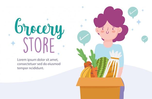Marché en ligne, femme avec boîte pleine de nourriture, livraison en illustration d'épicerie