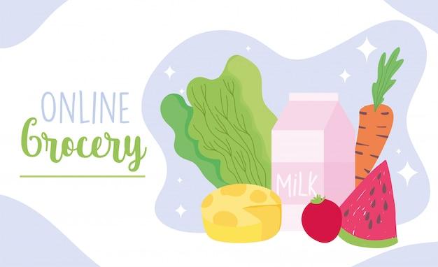 Marché en ligne, produits frais épicerie alimentaire livraison à domicile illustration