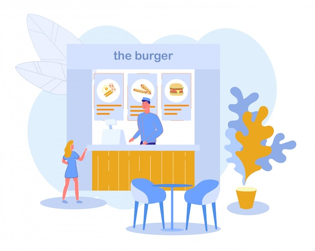 Marché local ou food festival burger restaurant.