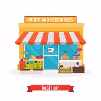 Marché local fruits et légumes.