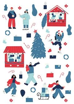 Marché de noël et activité hivernale sertie d'objets de noël et de personnages de personnes shopping patinage sur glace et transportant des cadeaux buvant du vin chaud