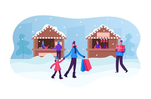 Marché de noël ou foire extérieure d'hiver. les gens qui marchent et achètent des cadeaux et des boissons chaudes dans les étals et les kiosques. illustration plate de dessin animé