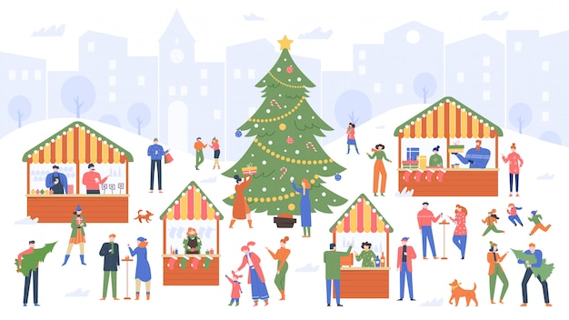 Marché de noël. foire de vacances, gens de bande dessinée marchant sur des étals extérieurs décorés et achetant du vin, de la nourriture et des souvenirs de noël illustration colorée. marché du nouvel an, décoration d'hiver