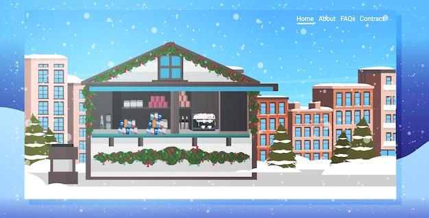 Marché de noël ou vacances en plein air foire joyeux noël vacances d'hiver célébration concept cityscape snowfall