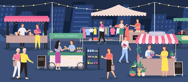 Marché de nuit. les gens sur la foire en plein air d'été. magasin de festival de rue, étal, magasin de fleurs, vêtements et cosmétiques artisanaux. bannière de vecteur d'événement de ville. vente de livres et de cosmétiques naturels en extérieur