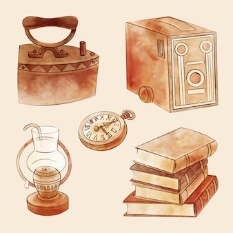 Marché des objets antiques aquarelle