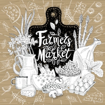 Marché de producteurs, création de logo biologique, magasin d'aliments sains. légumes, fruits, viande, lait, œufs, pain. ensemble d'aliments biologiques. bonne nutrition. dessiné à la main .