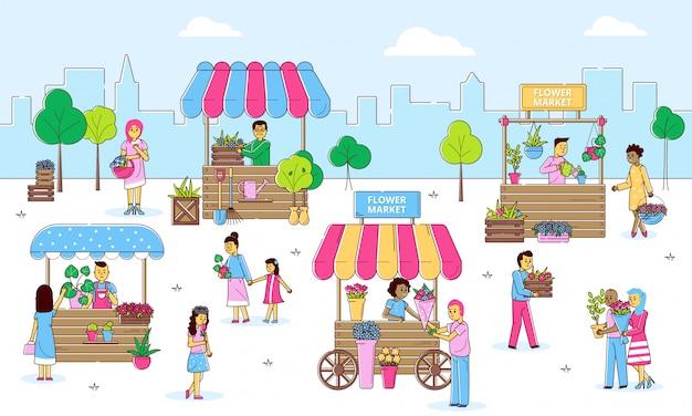 Marché de rue de fleurs avec des gens vendant et faisant du shopping des plantes et des fleurs chez les fleuristes sur la rue, illustration de ligne de dessin animé.