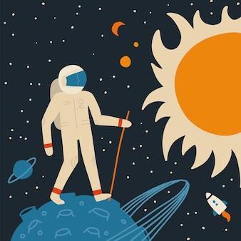 Marcher sur l'astronaute lunaire avec bâton de marche.