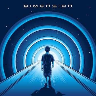 Marcher au vecteur d'illustration de dimension