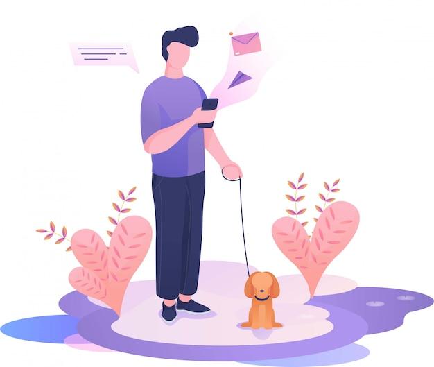 Marcher avec un chien et avoir un message