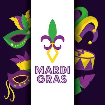 Mardi gras carte dot lettrage flor de lis masque tambour chapeau icônes