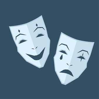 Mardi gras. deux masques avec différentes émotions