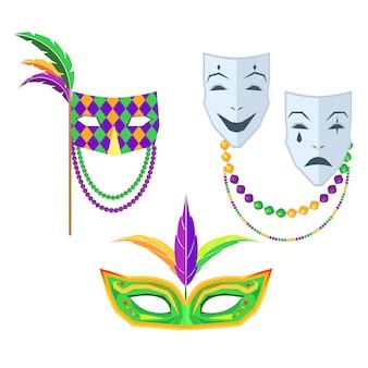 Mardi gras. illustrations de masques de carnaval isolés