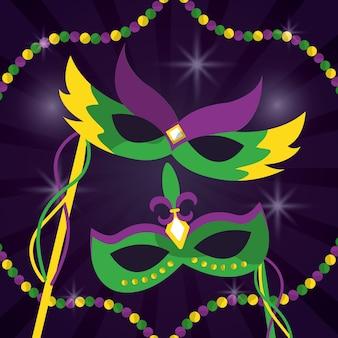 Mardi gras masques de carnaval avec des plumes bijoux beautés décoration