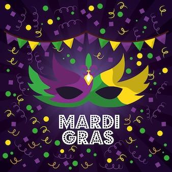 Mardi gras masques de carnaval avec des plumes serpentins de confettis