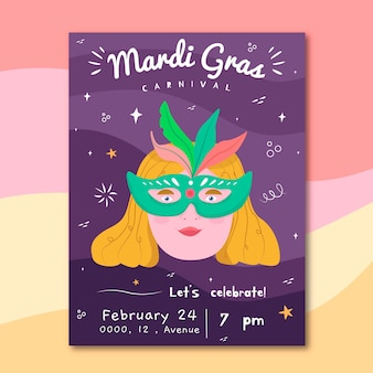 Mardi gras party girl flyer dessiné à la main