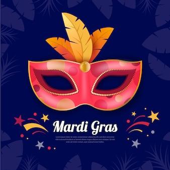 Mardi gras réaliste avec masque coloré