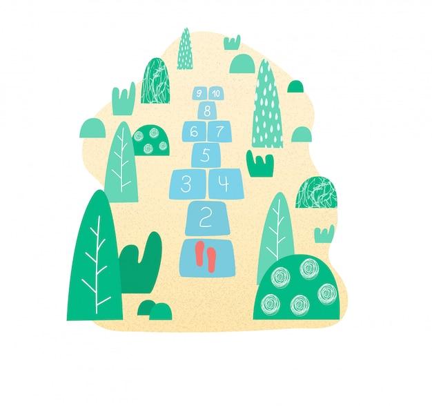 Marelle. jeu de rue pour enfants en bémol, illustration vectorielle. jeu de marelle dans le parc.