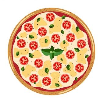 Margarita entière vue de dessus pizza avec différents ingrédients