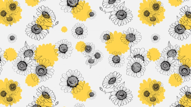 Marguerites seamless pattern dessiné à la main