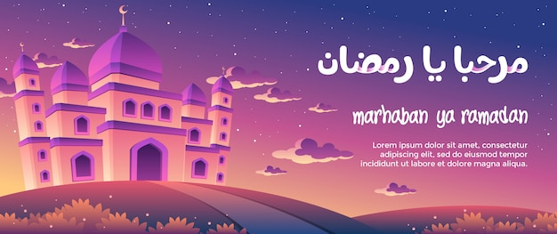Marhaban ya ramadan avec une magnifique mosquée au crépuscule carte de vœux