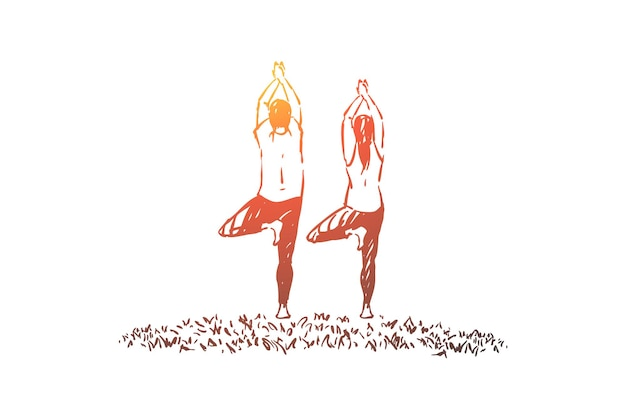 Mari et femme en tenue de sport debout dans l'illustration de la posture de l'arbre