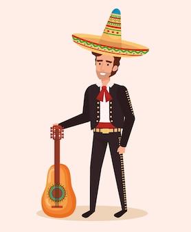 Mariachi mexicain avec personnage de guitare