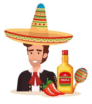 Mariachi mexicain avec set d'icônes caractère