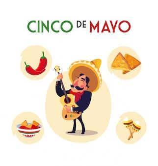 Mariachi mexicain avec set d'icônes du cinco de mayo