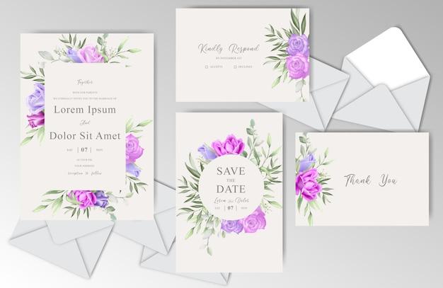 Mariage aquarelle romantique stationnaire avec de belles roses