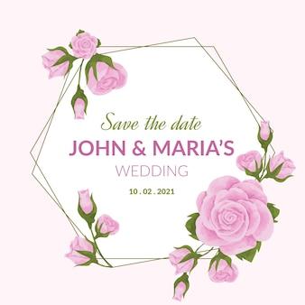 Mariage cadre floral doré fleurs violettes