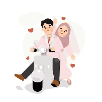 Mariage, couple, musulman, à, mignon, scooter, illustration