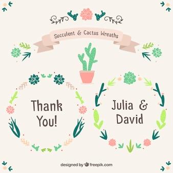 Mariage avec des couronnes de fleurs de cactus