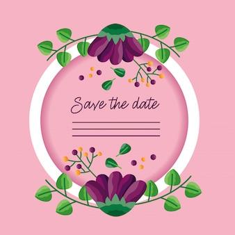 Mariage économiser le cadre de la carte date
