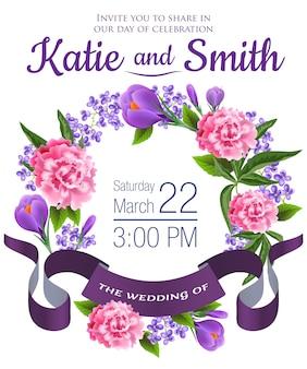 Mariage enregistrer la date avec des perce-neige, des pivoines, une couronne florale et un ruban violet.