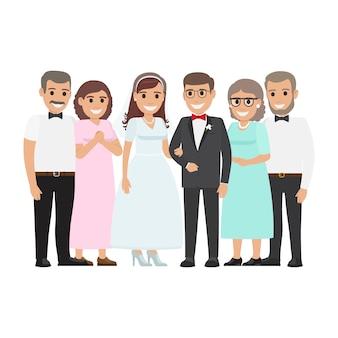 Mariage famille ensemble. couple de jeunes mariés