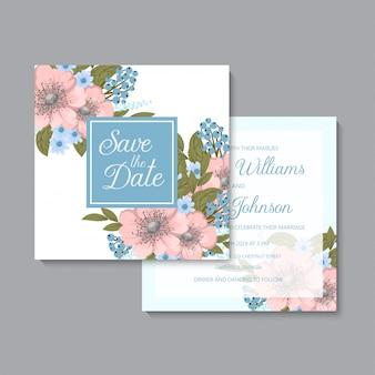 Mariage floral bleu clair et floral rose