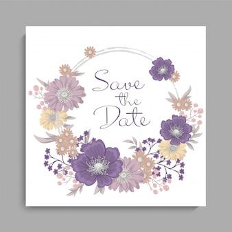 Mariage floral fond violet motif floral