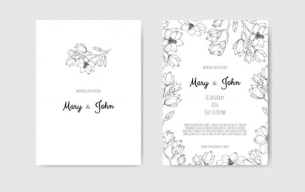 Mariage de luxe save the date, collection de cartes de la marine d'invitation avec des fleurs et des feuilles de feuille d'or et une couronne.